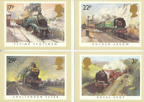 Post Office - Set Of 5 Famous Trains Phq Cards - 1985