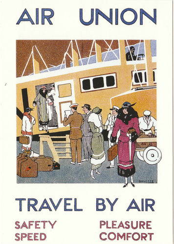 Robert opie advertising postcard - air union - travel by air