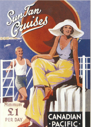 Robert opie advertising postcard - canadian pacific - sun tan cruises