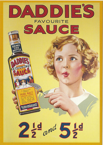 Robert opie advertising postcard - daddie's favourite sauce