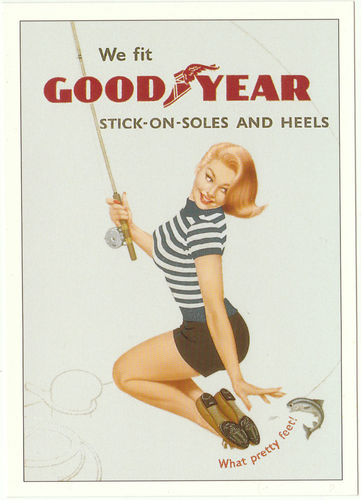 Robert opie advertising postcard - goodyear stick-on-soles & heels
