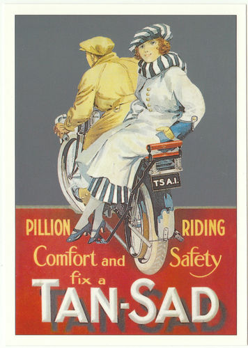 Robert opie advertising postcard - tan - sad pillion seat