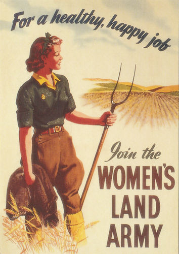 Robert opie advertising postcard - the women's land army