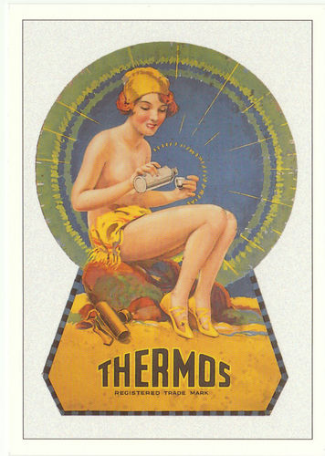 Robert opie advertising postcard - thermos flask