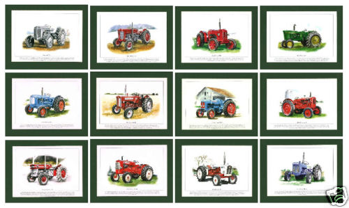 Rogerstock Ltd. - Superb Set Of 12 1950-60s Unmounted Tractor Prints