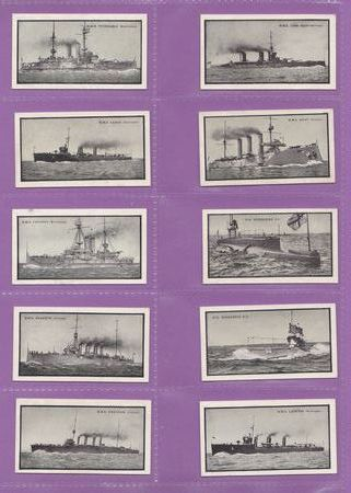 Stephen Mitchell & Son - Set Of 25 - British Warships, 2nd Series (26 - 50) - 1915