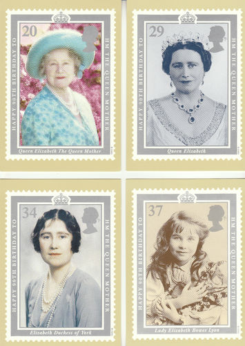 U.k. Post Office - Set Of 4 90th Birthday Of Queen Mother Cards - 1990