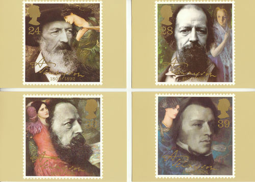 U.k. Post Office - Set Of 4 Alfred Lord Tennyson Cards - 1992