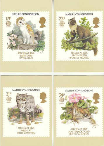 U.k. Post Office - Set Of 4 Animals Nature Conservation Cards - 1986
