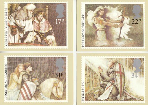 U.k. Post Office - Set Of 4 Arthurian Legends Cards - 1985