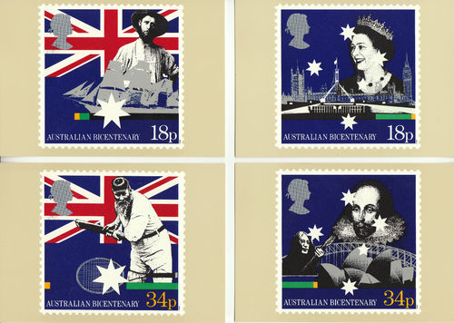 U.k. Post Office - Set Of 4 Bicentenary Of Australian Settlement - 1988
