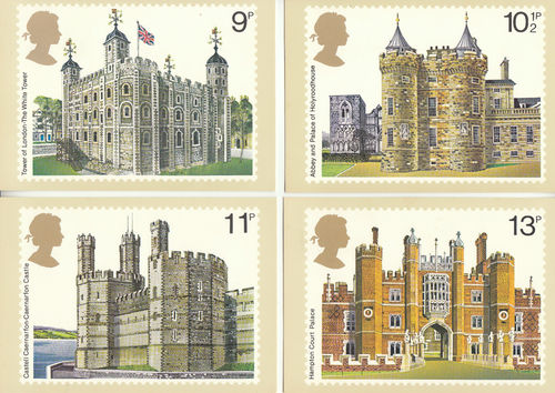 U.k. Post Office - Set Of 4 British Architecture Postcards - 1978