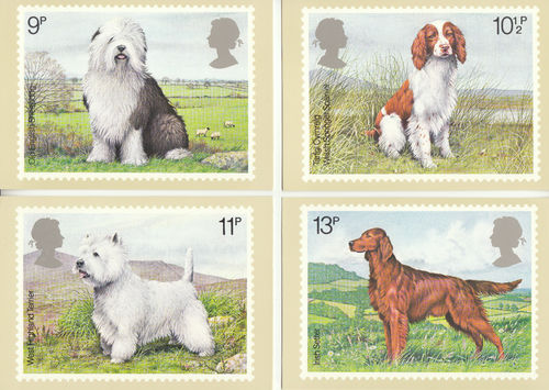 U.k. Post Office - Set Of 4 British Dogs Cards - 1979