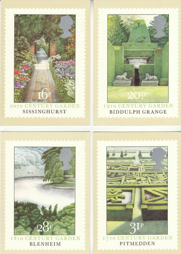 U.k. Post Office - Set Of 4 British Gardens Cards - 1983