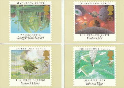 U.k. Post Office - Set Of 4 British Music Composers Cards - 1985