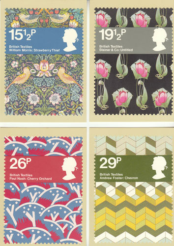 U.k. Post Office - Set Of 4 British Textiles Cards - 1982