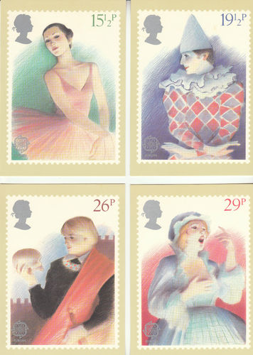 U.k. Post Office - Set Of 4 British Theatre Cards - 1982