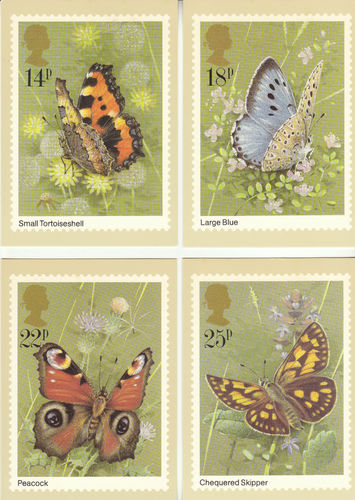 U.k. Post Office - Set Of 4 Butterflies Cards - 1981