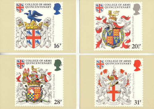 U.k. Post Office - Set Of 4 College Of Arms Quincentenary Cards - 1984