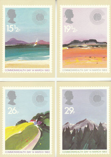 U.k. Post Office - Set Of 4 Commonwealth Day Cards - 1983