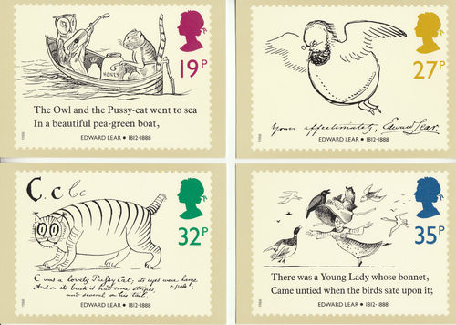 U.k. Post Office - Set Of 4 Death Centenary Of Edward Lear Cards - 1988