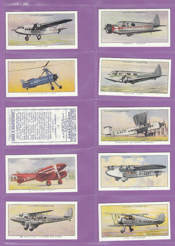Victoria Gallery - Set Of 50 Players ' Aeroplanes ( Civil ) ' Cards