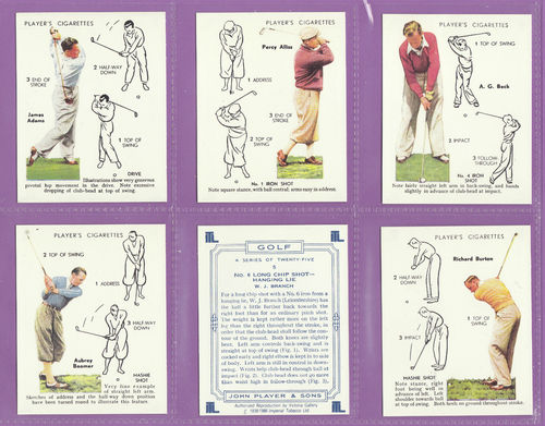 Victoria Gallery - Set Of 25 Large Players ' Golf ' Cards