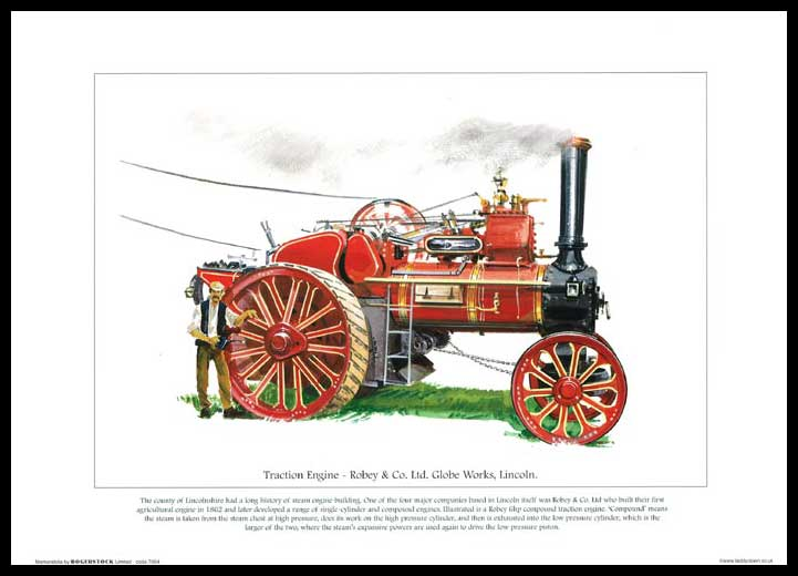 Rogerstock Ltd. - Steam Traction Engine Print - Traction Engine By Robey & Co. Ltd.