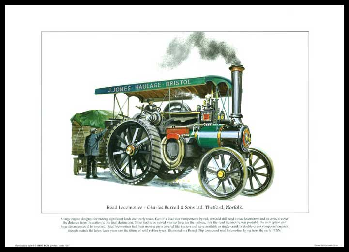 Rogerstock Ltd. - Steam Traction Engine Print - Road Locomotive By Charles Burrell & Sons Ltd.