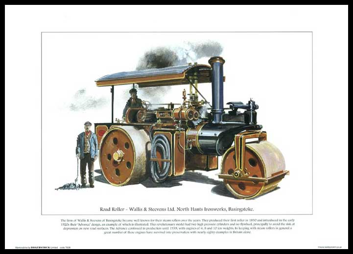 Rogerstock Ltd. - Steam Traction Engine Print - Road Roller By Wallis & Steevens Ltd.