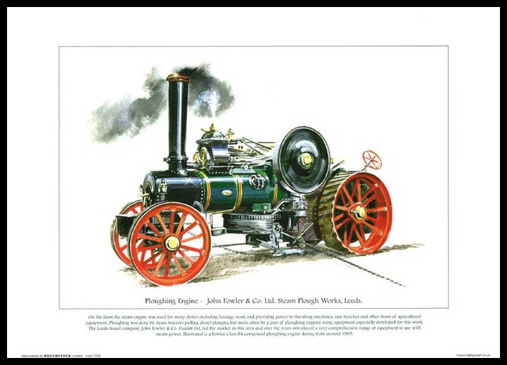 Rogerstock Ltd. - Steam Traction Engine Print - Ploughing Engine By John Fowler & Co. Ltd.