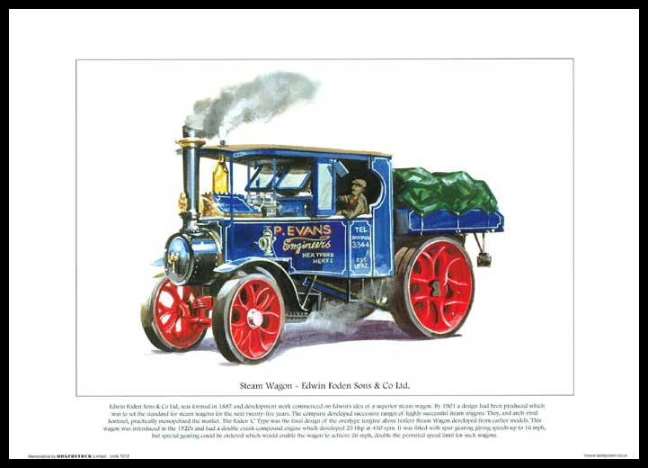 Rogerstock Ltd. - Steam Traction Engine Print - Steam Wagon By Edwin Foden Sons & Co. Ltd.